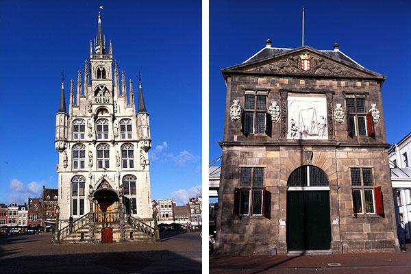 Po lewej: ratusz i rynek. Po prawaj: waga miejska Waag, obecnie Muzeum Sera Kaasmuseum.